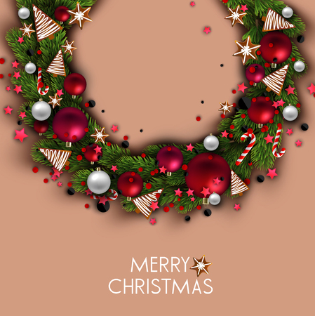 Christmas background with balls and fir twig. Colorful Xmas baubles. Vector Stock fotó - 114082584