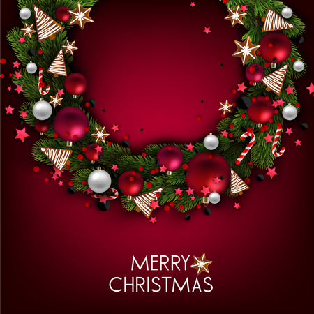 Christmas background with balls and fir twig. Colorful Xmas baubles. Vector Stock fotó - 114082613
