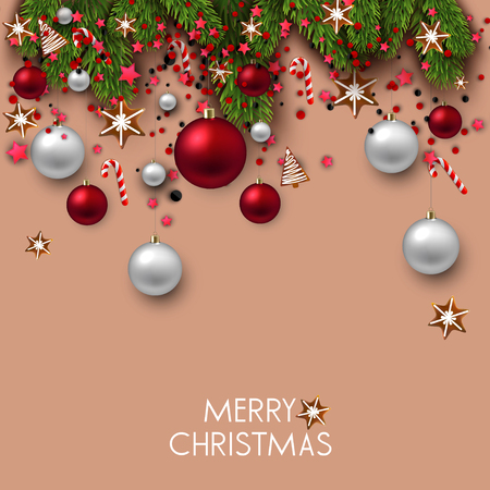 Christmas background with balls, gift boxes and fir twig. Colorful Xmas baubles. Vector