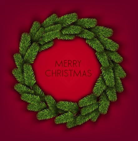 Christmas background with green fir twig. Wreath. Vector Illusztráció