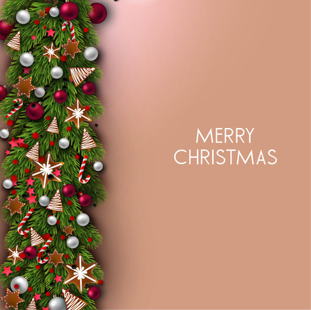 Christmas background with balls and fir twig. Colorful Xmas baubles. Vector