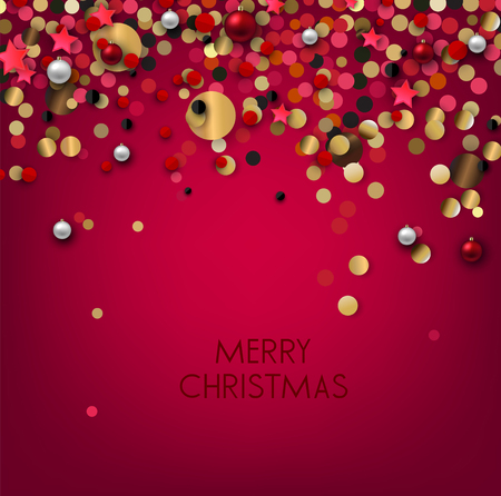 Holiday greeting vector illustration with golden  glitters, sparkles