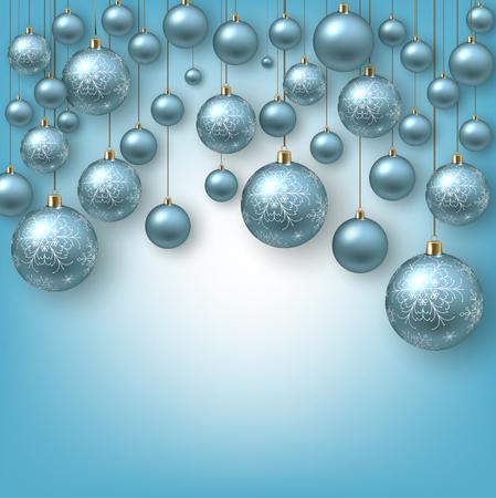Christmas background with Blue christmas balls and snow for xmas design. Vector illustration. Illusztráció