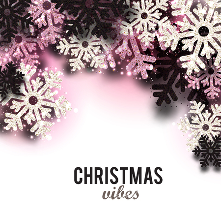Merry Christmas  greeting vector illustration with pink glitters, sparkles and snowflakes Stock fotó - 114082635