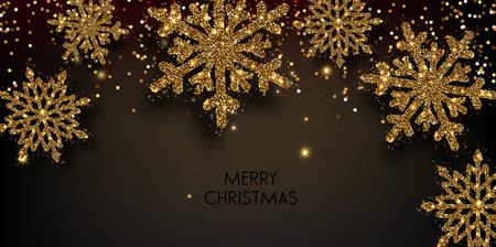 Merry Christmas  greeting vector illustration with golden  glitters, sparkles and snowflakes Stock fotó - 114082639