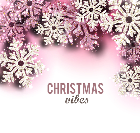 Merry Christmas  greeting vector illustration with pink glitters, sparkles and snowflakes Stock fotó - 114082645