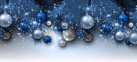 Blue Christmas background with fir twigs and balls. Xmas baubles.Vector illustration. Illusztráció
