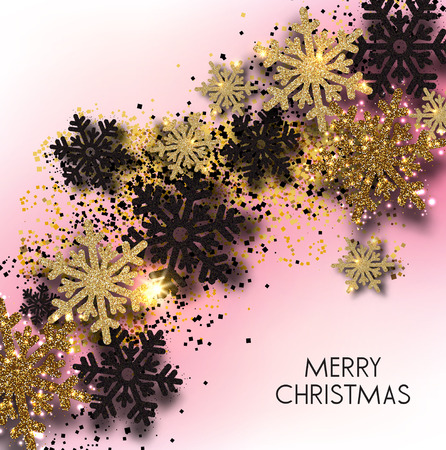 Merry Christmas  greeting vector illustration with pink glitters, sparkles and snowflakes Stock fotó - 114082647