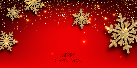 Merry Christmas  greeting vector illustration with golden  glitters, sparkles and snowflakes Stock fotó - 114082682