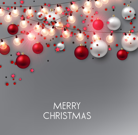 Merry Christmas  greeting vector illustration with golden bulbs and text Stock fotó - 114082690