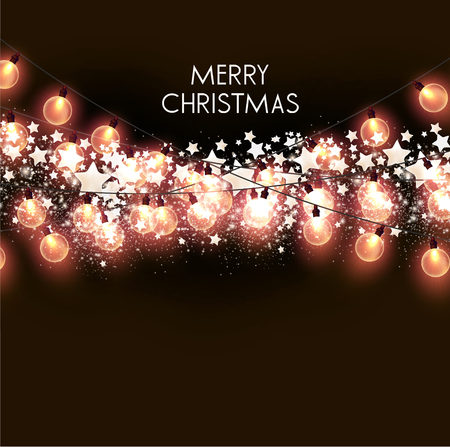 Merry Christmas  greeting vector illustration with golden bulbs and text Stock fotó - 114082692