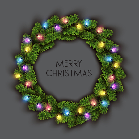 Merry Christmas  greeting vector illustration with colorful  bulbs and text Stock fotó - 114082695