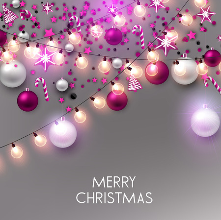 Merry Christmas  greeting vector illustration with golden bulbs and text Stock fotó - 114082697