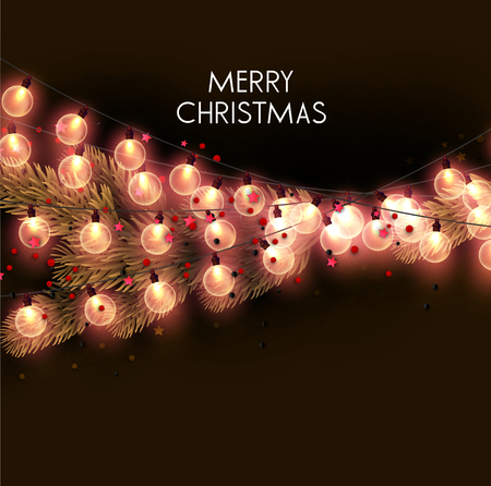 Merry Christmas  greeting vector illustration with colorful  bulbs and text Stock fotó - 114082699