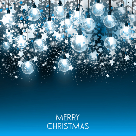 Merry Christmas  greeting vector illustration with colorful  bulbs and text Stock fotó - 114082701