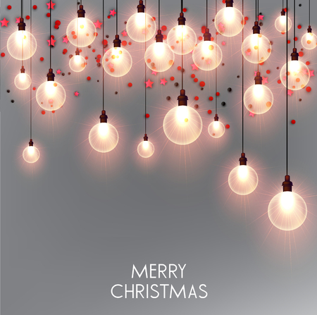 Merry Christmas  greeting vector illustration with colorful  bulbs and text Stock fotó - 114082703
