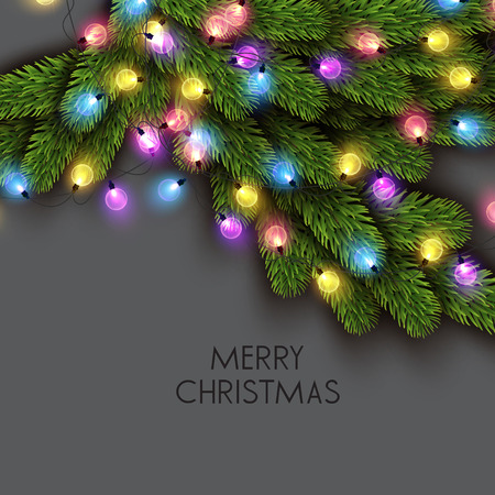 Merry Christmas  greeting vector illustration with colorful  bulbs and text