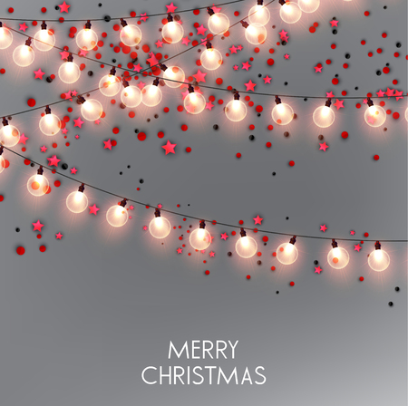 Merry Christmas  greeting vector illustration with golden bulbs and text