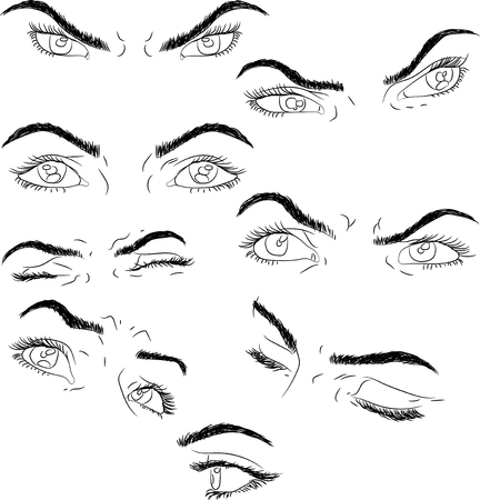 eyebrows: man and woman isolated vector eyes and eyebrows silhouette, face parts,