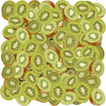 sliced fruit: A  seamless background of sliced kiwi fruit. EPS vector format.