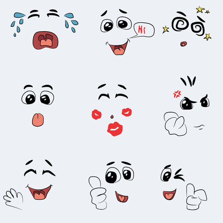 drool: set of cute vector faces, different emotions