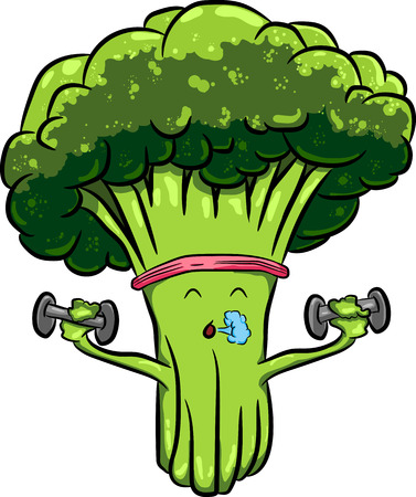 stalks: Organic farm cartoon broccoli vegetables with green stalks and lush heads. Funny cabbage family characters for vegetarian food menu, agriculture harvest or farm market design