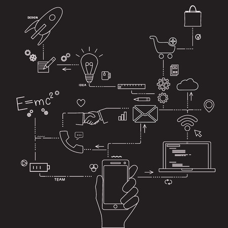 engeneering: Set of application development, web site coding, information and mobile technologies vector icons and elements landing page. Modern concept vectors collection. Illustration