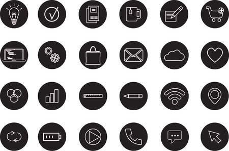 contacts group: Media and communication icons, Set of application development Illustration