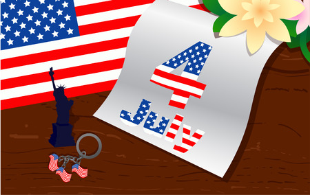 july 4: stylish american independence day design. July 4 Illustration