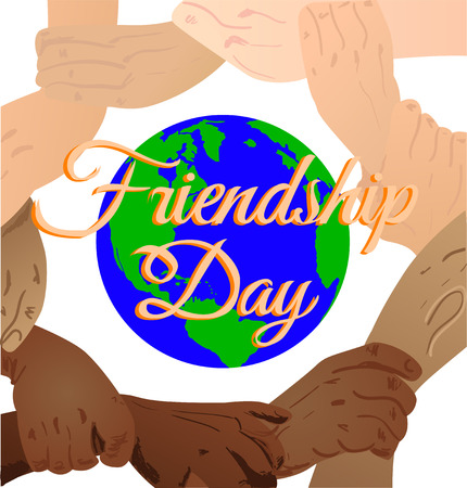 promise: Vector illustration beautiful card for friendship day with promise hand. vector illustration