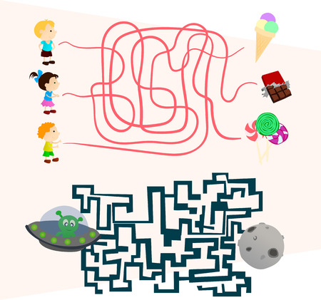 preschoolers: beautiful Labyrinth games set for preschoolers find the way