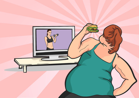 fat young girl wants to lose weight in front of TV with a meal Illustration