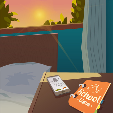 lore: Welcome back to school sale background with alarm clock, vector illustration. school time. September 1 to return to school