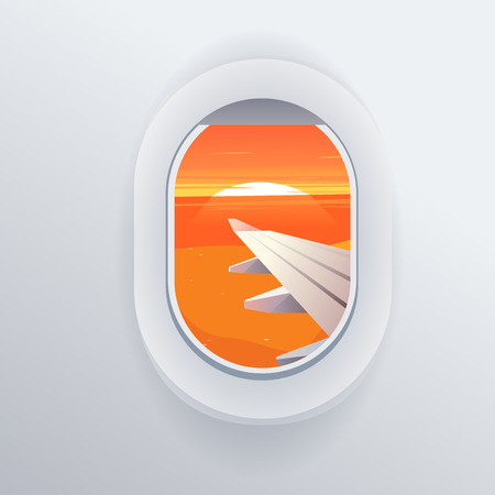 airplane window: View from airplane. Window plane. Vacation destinations. Summer holiday. Tropical beach. Flat web illustration
