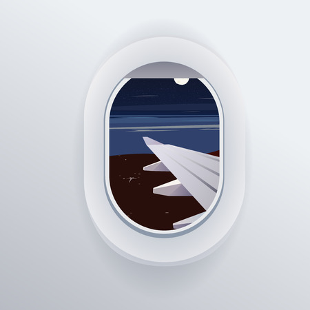 vacation destinations: View from airplane. Window plane. Vacation destinations. Summer holiday. Tropical beach. Flat web illustration