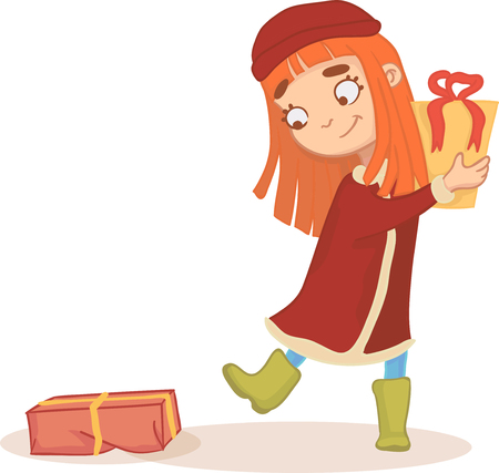 Red-haired girl with gifts in his hands. Vector illustration in comic style. a holiday Surprise Stock Photo