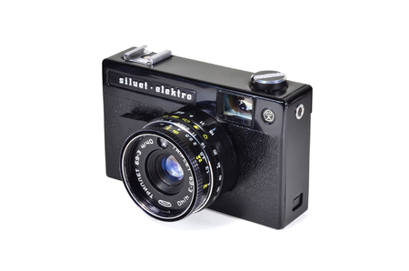 Donetsk, Ukraine - June 6, 2014: Retro camera Siluet-elektro - soviet small-format rangefinder camera with Triplet 69-3 lens. Produced by BelOMO. Isolated on white background. Editorial