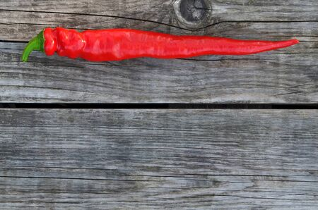 Red hot chili pepper on a rustic background with copy space. Close-up, top view