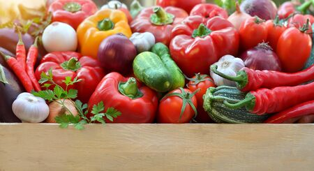 Harvest fresh vegetables in a wooden box with copy space below. Healthy and organic food.