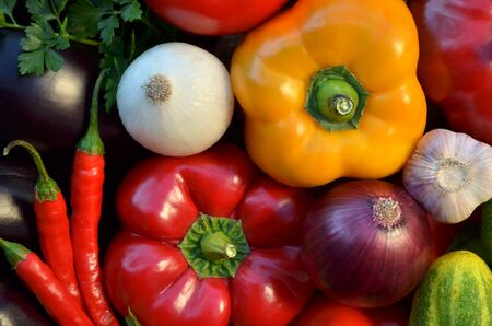 Various fresh vegetables close-up as a background, top view. Healthy and organic food. Reklamní fotografie