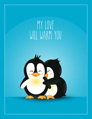 Love themed. Postcard design love. Warm hug cute cartoon penguins. Care and love vector illustration. Illustration