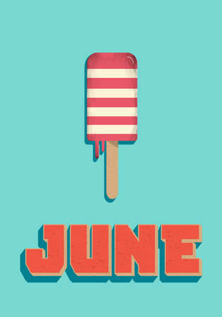 June, summer, ice cream on stick, vector illustration. Illustration