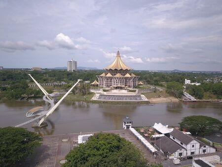 Aerial view of Kuching city, Sarawak, in the island of Borneo