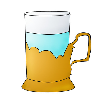 The glass of water in yellow glass-holder on a white background isolated