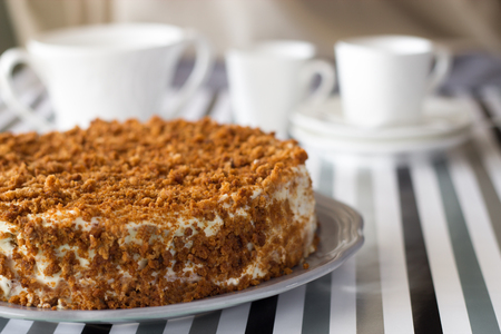 Homemade delicious honey cake with crumb. White tea set on background. Selective focus. Imagens