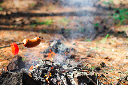 The sausage on skewer fried at the stake in forest. Picnic in nature. Selective. Blurred background. Standard-Bild