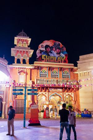 DUBAI, UAE - November, 17, 2017: Entrance Bollywood Park at Dubai Parks and Resorts. Main gate. Dubai, United Arab Emirates.