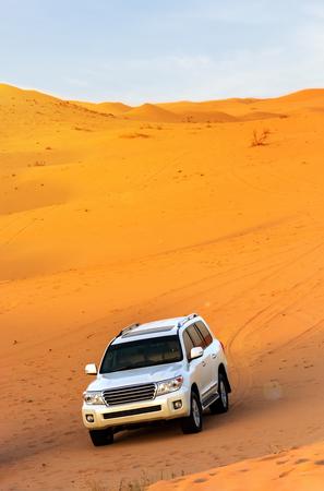 Offroad arabian desert safari in Dubai, UAE. Dune bashing.