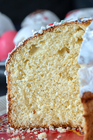 Macro texture of yeast bread, bun, panettone or easter cake. Close up. Selective focus.