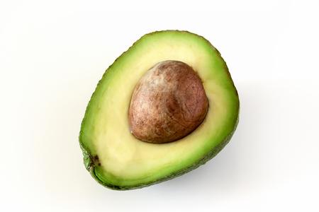 Natural organic ripe avocado. Half avocado on white background. Isolated. Top view. Zdjęcie Seryjne